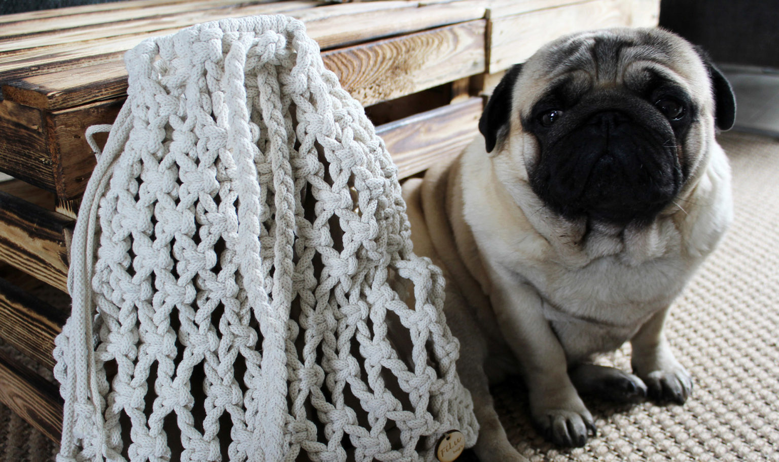 Plecak Adele pleciony ze sznurka Filuteria